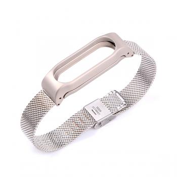Металлический ремешок для Xiaomi Mi Band 3 миланская петля Серебристый